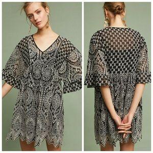 akemi + kin black white embroidered eyelet dress
